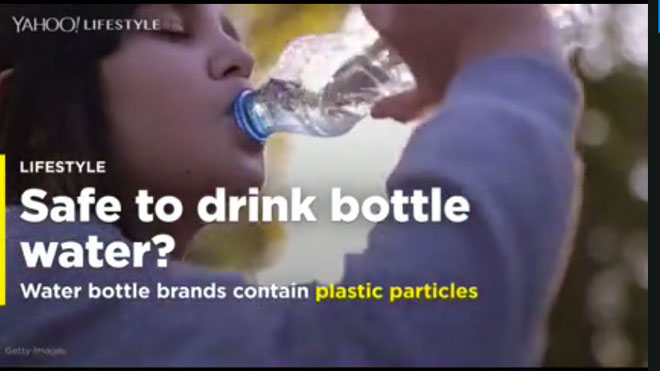 "Getty image of girl drinking bottled water, as part of Yahoo article ""Top bottled water brands contaminated with plastic particles"""